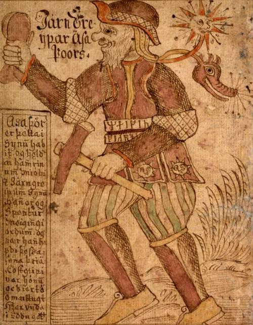 Thor csodálatos kalapácsával, a Mjölnirrel